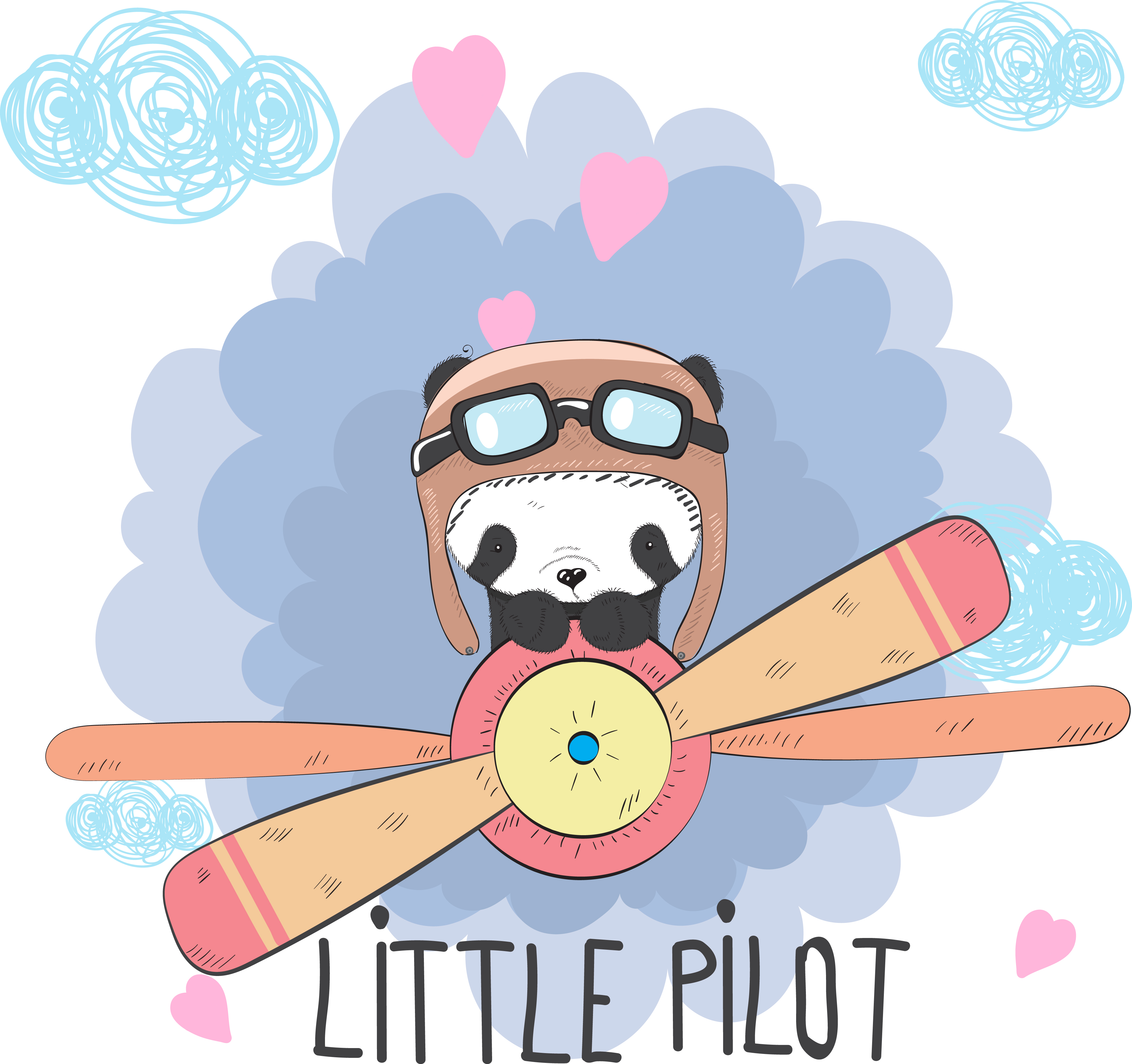 Cute Baby Panda On A Plane Download Free Vector Art