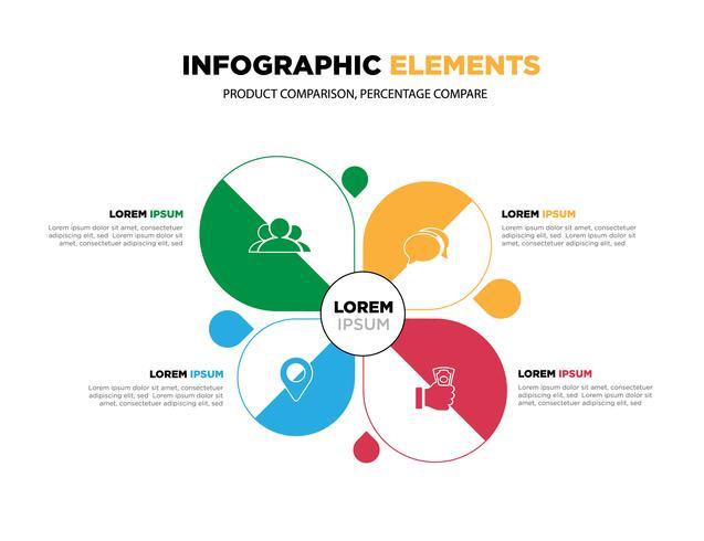 Vector-elementen voor infographic. Sjabloon voor diagram, grafiek, presentatie en grafiek.