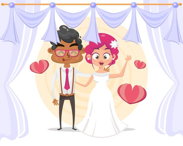 Couple de dessin animé mignon pour carte d'invitations de mariage