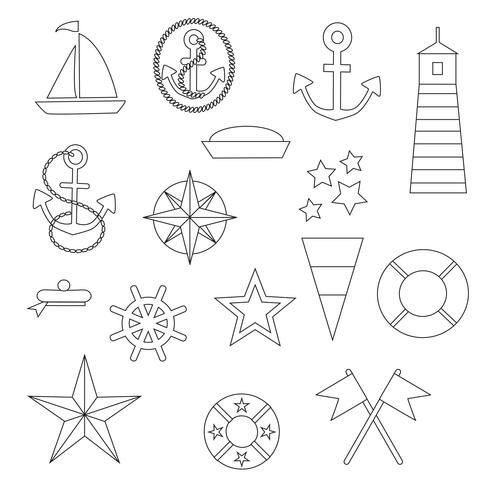 Nautical Digital Stamps Clipart vector