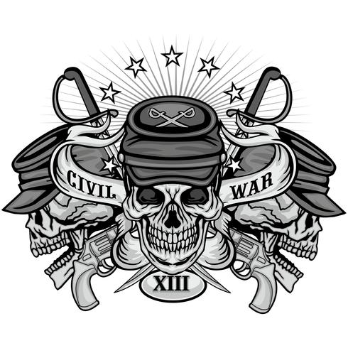civil war emblem with skull vector