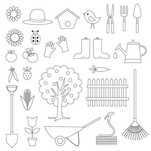 Gartenarbeit Digital Briefmarken Clipart