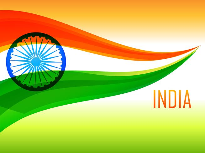 indian flag made with tricolor wave