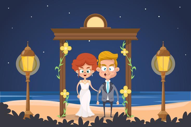 Joli couple se mariant sur la plage
