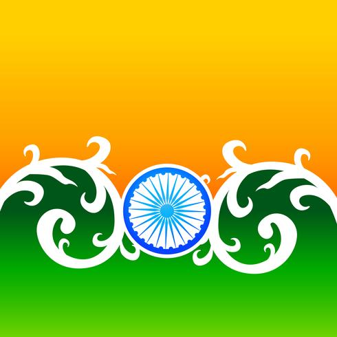 Diseño creativo de bandera india con volante y florales.