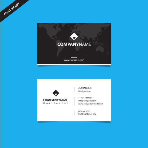 Moderna tarjeta de presentación creativa en negro y tarjeta de presentación, diseño de plantilla de plantilla limpia simple horizontal vector
