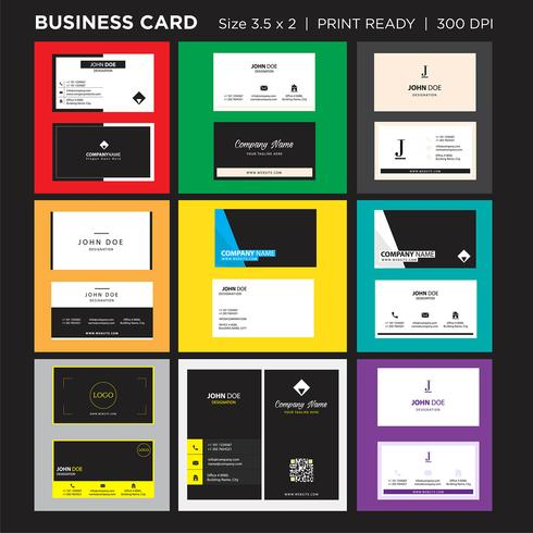 Tarjeta de visita y tarjeta de presentación creativa de estilo moderno, diseño de vector de plantilla limpia simple horizontal a doble cara listo para imprimir