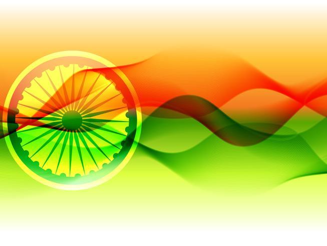 Bandiera vettoriale dell'India con onda che scorre