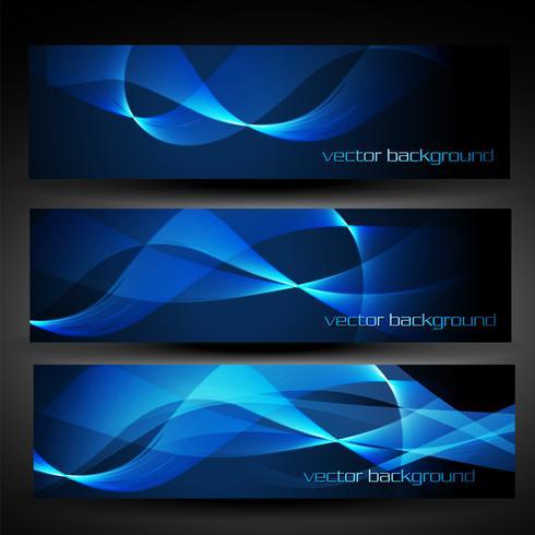 bannière abstraite vecteur bleu set 4