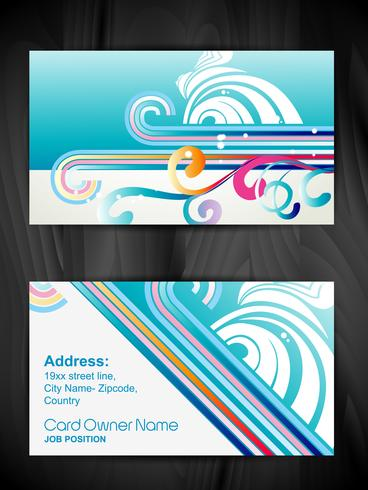 beautiful floral style business card vector