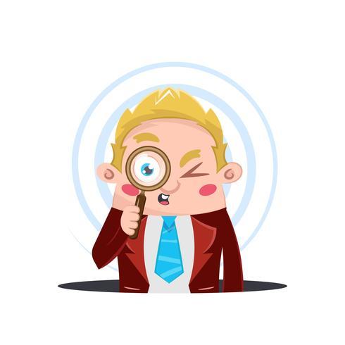 Uomo d'affari guardando attraverso una lente di ingrandimento