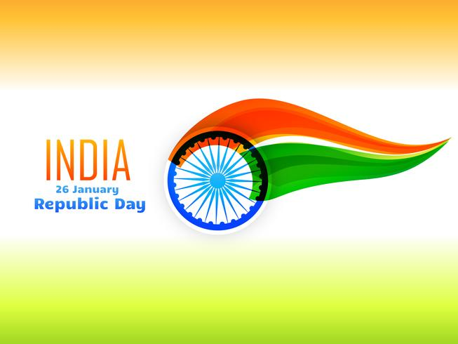 indian republic day flag design  made in wave style