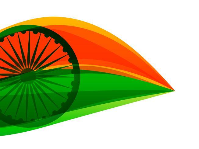 Bandera india hecha con tricolor en un estilo de hoja.