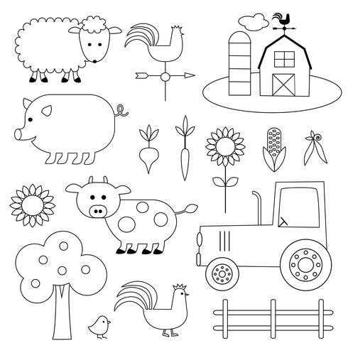 Farm Animals Digital Stamps Clipart vector
