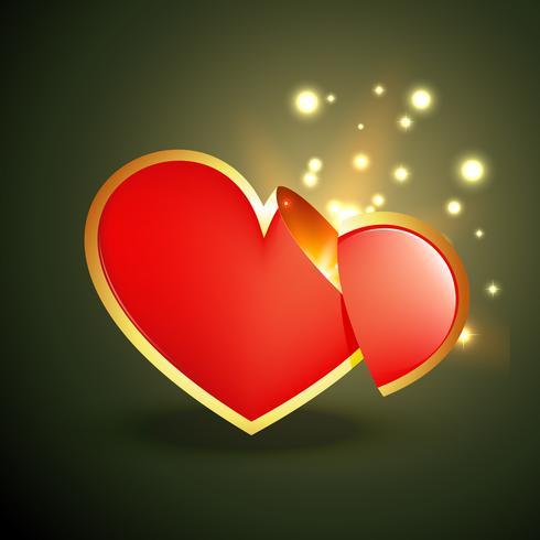 vector hart met gloed stralen