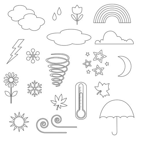 Weather Icons Digital Stamps Clipart vector