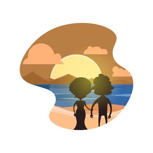 Par, segurando, mãos, praia