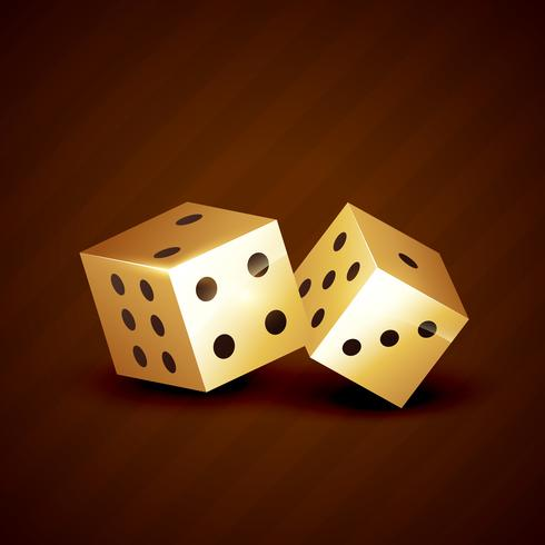 golden dice spinning vector design
