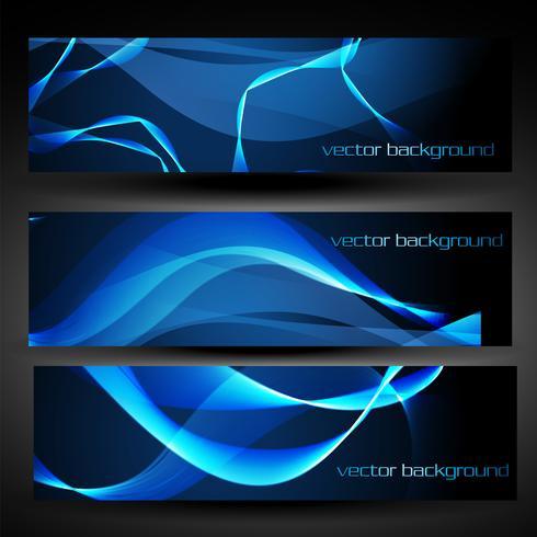bannière abstraite vecteur bleu set 5