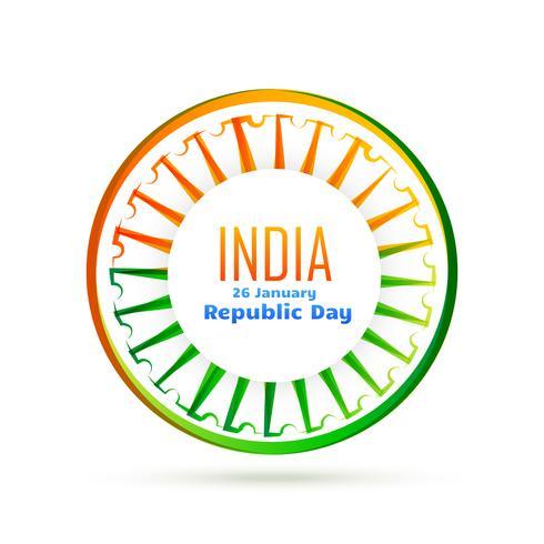 roue de drapeau indien de vecteur avec tri couleur
