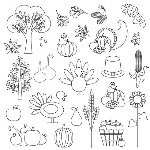 Thanksgiving Digital Stamps Clipart vector