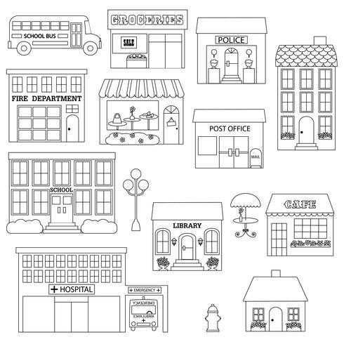 Cidade, edifícios, digital, selos, clipart