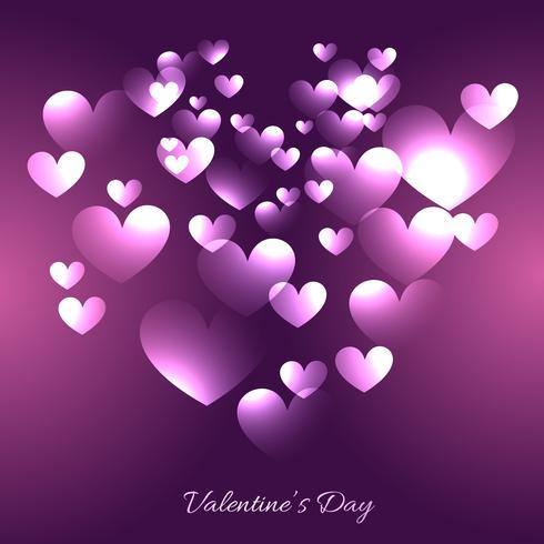 Valentijnsdag harten illustratie in paarse achtergrond