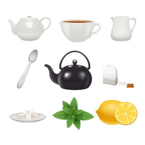 Colección de iconos de juego de té