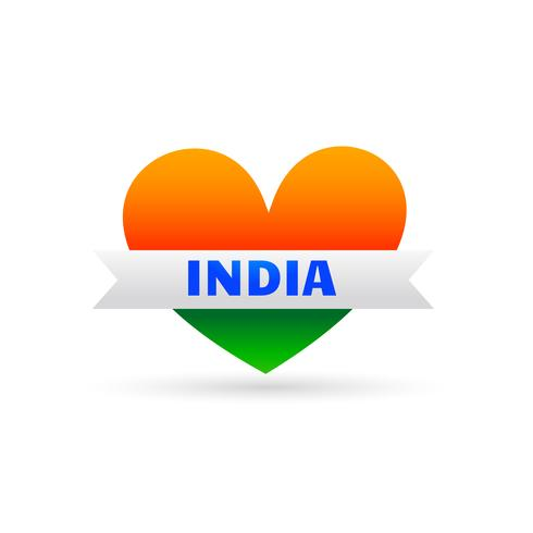 love india symbol with heart and ribbon