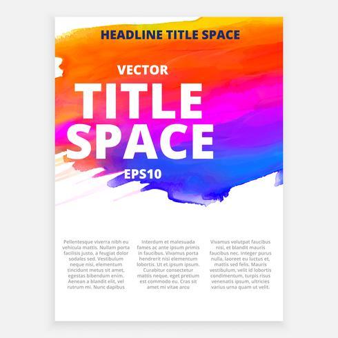 brochura colorida de vetor com efeitos de tinta