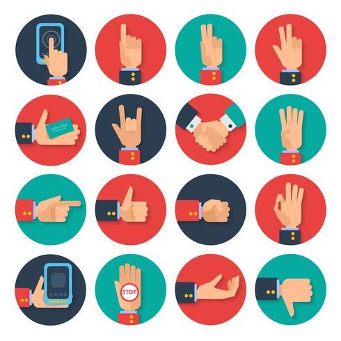 Iconos de manos conjunto plano vector