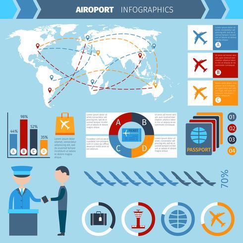 Conjunto de infografías del aeropuerto vector