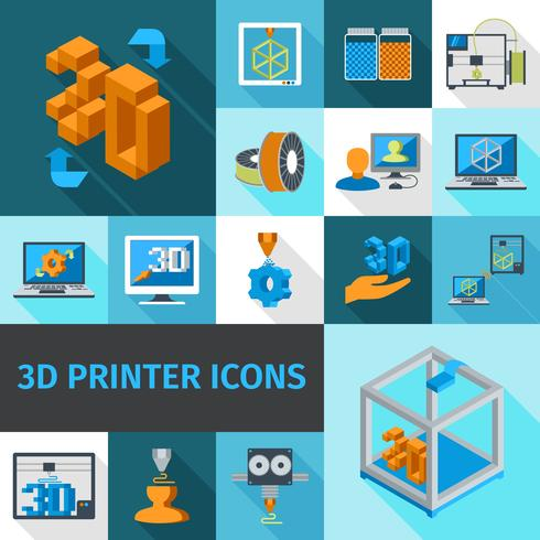 Printer 3d pictogrammen vector
