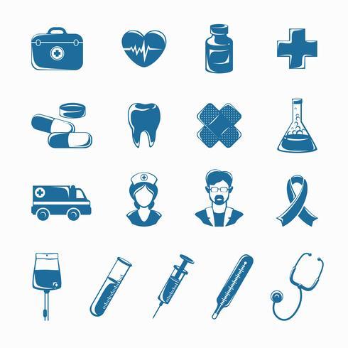 Ensemble d'icônes de médecine vecteur
