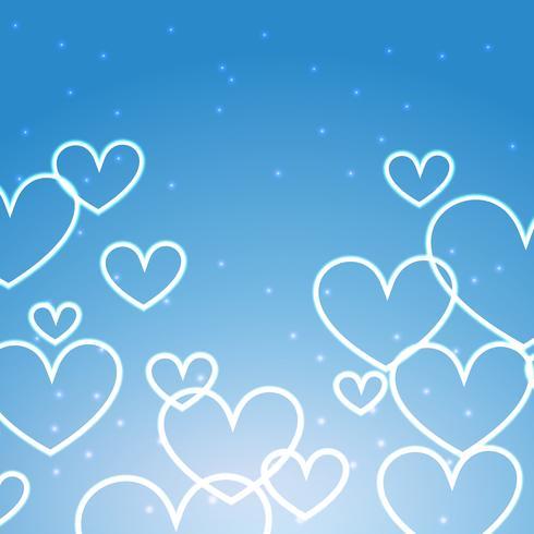 fond bleu avec des coeurs multiples