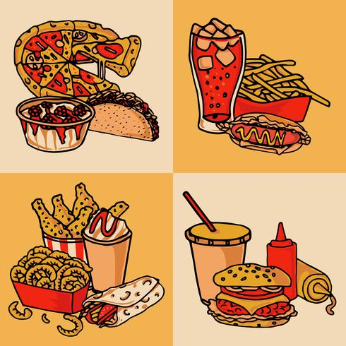 Conceito de menu de fast-food plana