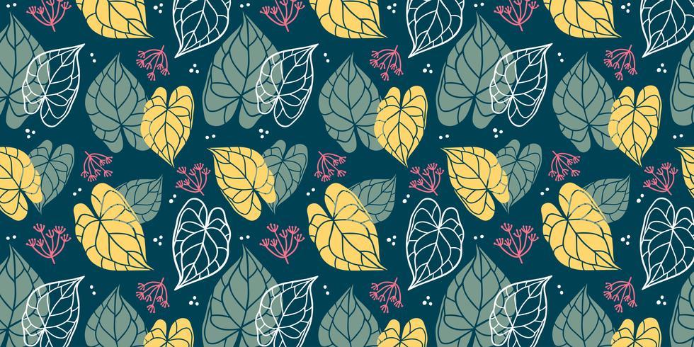 Fondo floral de hojas en estilo plano.