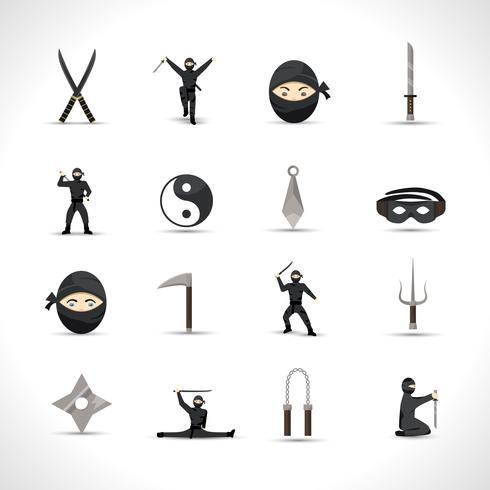 Conjunto de iconos ninja vector