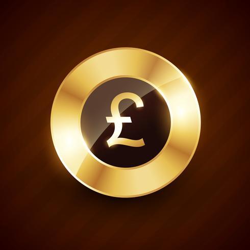 Pfund goldene Münze Design mit glänzenden Effekten Vektor