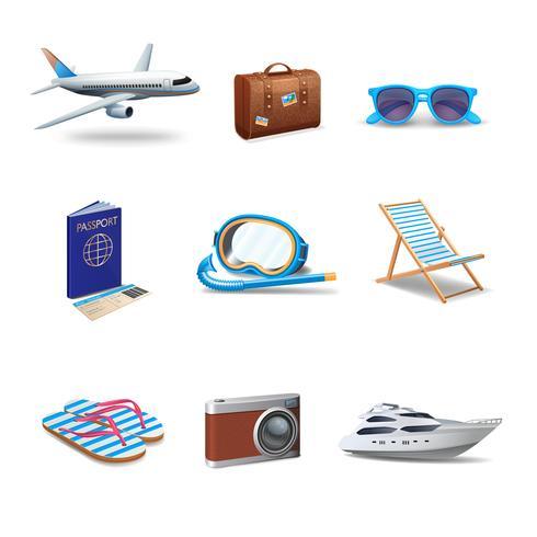 Conjunto de iconos de viaje vector