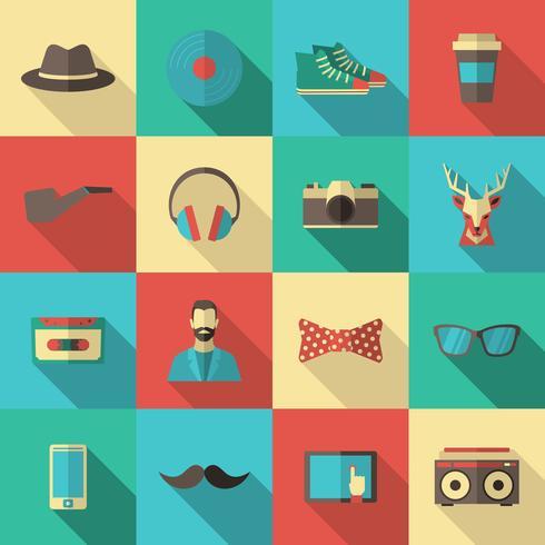 Conjunto de ícones plana hipster