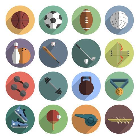 Iconos del deporte conjunto sombra plana vector