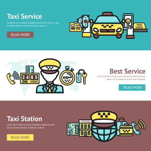 Conjunto de banners de taxi