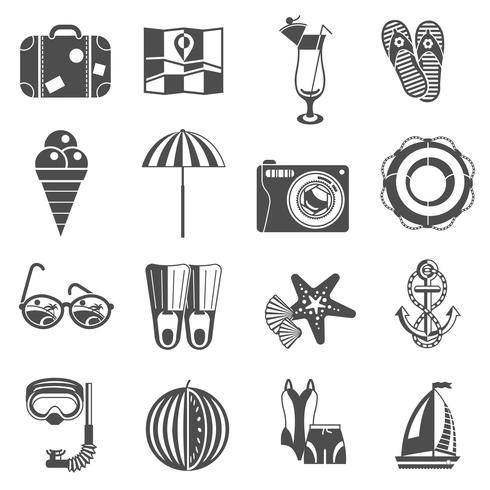 Summer vacation icons set black vector