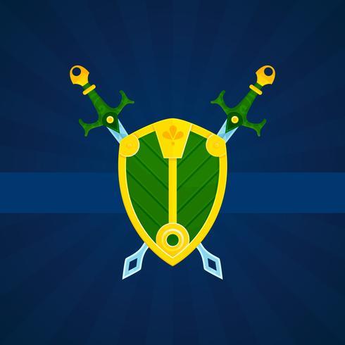 Escudo y espadas impresos póster.