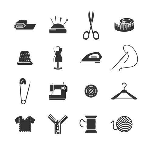 Set di icone nere di cucito vettore
