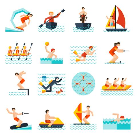 Conjunto de iconos de deportes acuáticos
