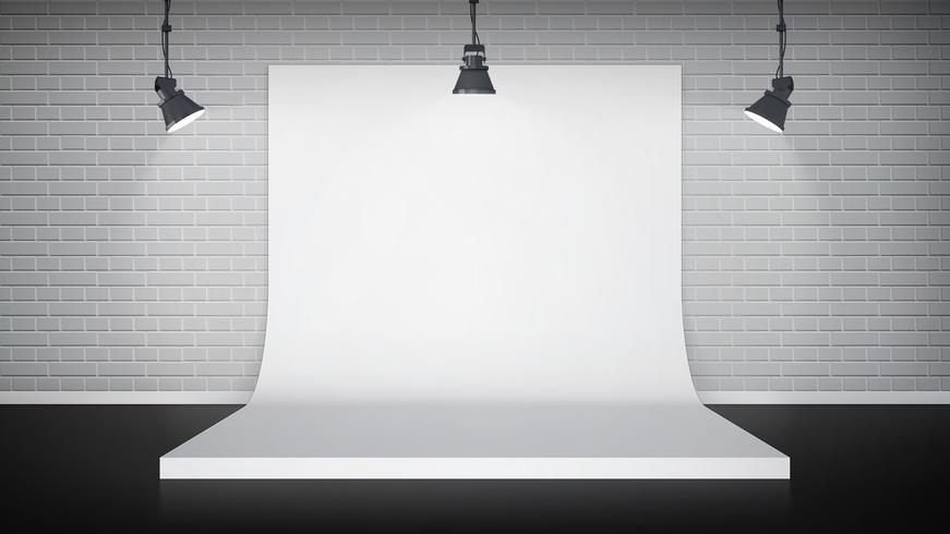 Studio interior with white backdrop