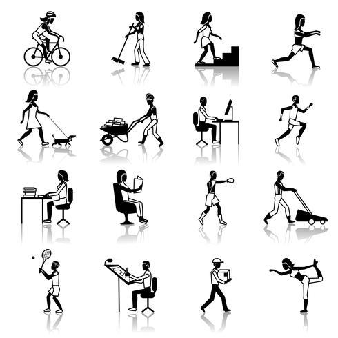 Fysiska aktiviteter Ikoner Svart