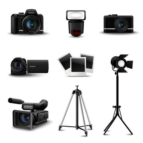 Ícones de câmera realista vetor